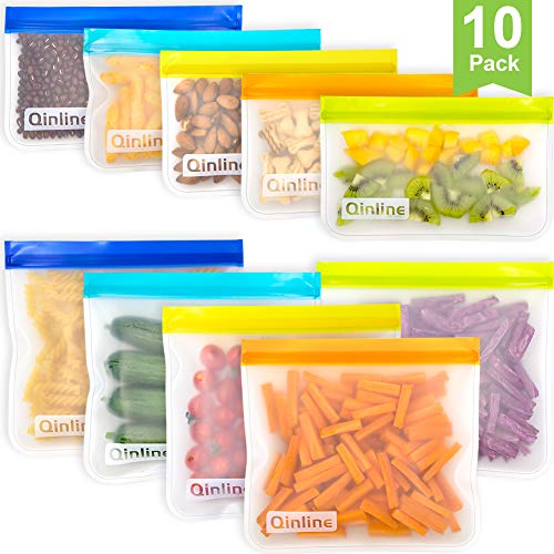 Reusable Storage Bags - 10 Pack Leakproof Freezer Bag(5 Reusable Sandwich Bags + 5 Reusable Snack Bags) EXTRA THICK Ziplock Lunch Bags for Food Storage Home Organization Traval & Make-up BPA FREE