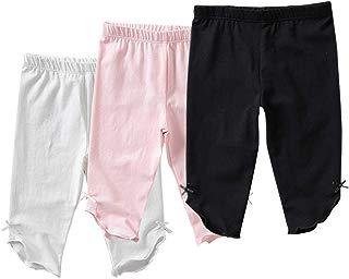 Otter MOMO Toddler Girls Capri Leggings Girl's Cotton Crop Leggings Pants with Bow/Star
