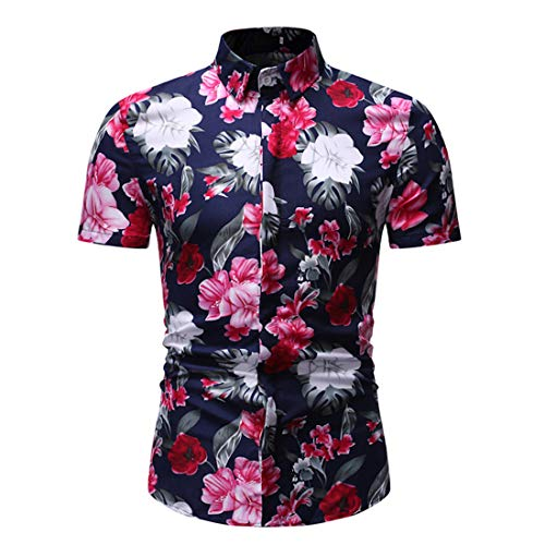 MENHG Herren Blume Funky Bunte Grafik Gedruckt Kurzarm Polo Shirts Sommer Lässig Tasten Revers Hawaiian Holiday Dress Shirt Slim Fit Beach Party Übergroße T-Shirt Tops Hemd