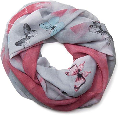 styleBREAKER Schmetterling Muster Loop Schlauchschal, seidig leicht, Damen 01016097, Farbe:Grau-Himbeer