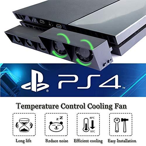 YKX4XJ08用于PS4的冷却风扇,计算机冷却器,Turbo Cooler for Playstation 4带5个风扇(黑色)