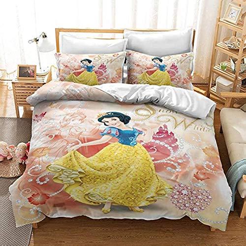 HUA JIE Dreiteilige Bettbezug Home Bettbezug 3 Stück Full Size S-No-W W-Hi-Te Prinzessinnen Niedlicher Bettbezug Für Mädchen Kinder Geschenk 3D-Bettwäsche-Set