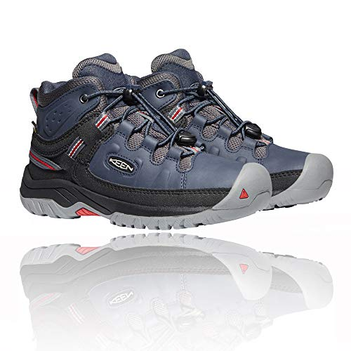KEEN Unisex Kinder Targhee Mid Wp Wanderstiefel, Blue Nights/Red Carpet, 34 EU