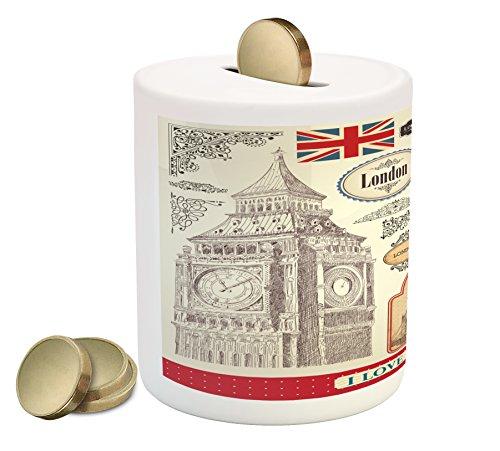 Lunarable London Piggy Bank, Conventional British...