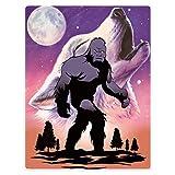 HommomH 60'x80' Blanket Soft Fluffy Warmer Fuzzy Plush Throw Blankets Wolf Bigfoot