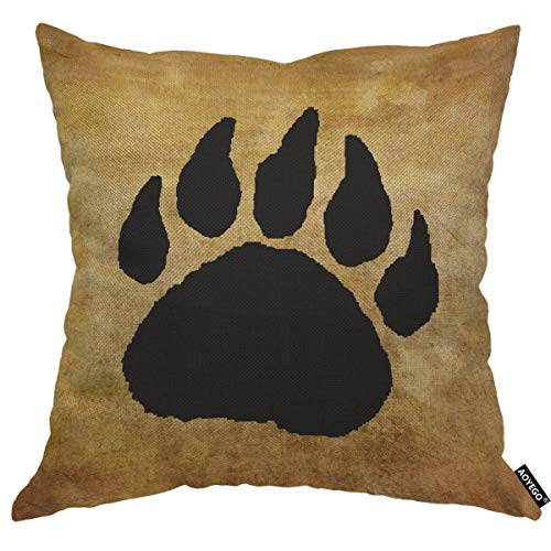 AOYEGO Bear Paw Print Throw Pillow Cover Footprint Claws Evidence Find Forest Animal Grizzly Large Search Pillow Case 18x18 Inch Decorative Men Women Boy Girl Room Cushion Cover for Home Couch Bed