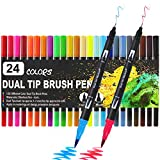 Hanmulee Colouring Pens Brush Pens, Dual Tip 24 Colours ,Fineliner Art Pens Marker