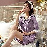 Nuevos Pijamas de Verano para Mujer, Pijama de pantalón Corto de Manga Corta de algodón Completo, Pijama de Servicio a Domicilio para Mujer, Pijama para Mujer-L_50-60KG
