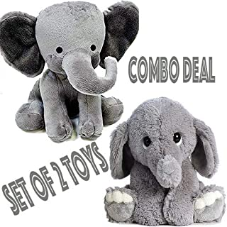 2 of Elephant Plush Toy Combo | Elephant Stuffed Animal Toy Combo | 9 inches Long Each | Great Gift for Kids and Babies | Nursery Room Décor | 2 Elephant Stuffed Toy Family