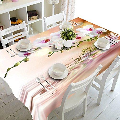 XXDD Pastoral 3D Tischdecke Weiß Morgenglory Muster Tischdecke Wasserdicht Rechteckig Waschbar Tischdecke A6 140x200cm