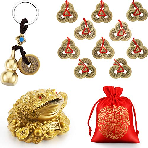 12 Pieces Feng Shui Coins Money Frog Chinese Feng Shui Brass Wu Lou with Coins Keychain Calabash Decorations for Longevity Travel Safely Wealth Success Good Luck with Red Blessing Bag