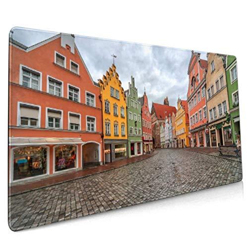 Long Mousepad (35.5x15.8in) Landshut Altdeutsche gotische Stadt in der Nähe von Schreibtisch Pad Tastaturmatte, rutschfeste Basis, wasserdicht, für Arbeit & Spiele, Büro & H.