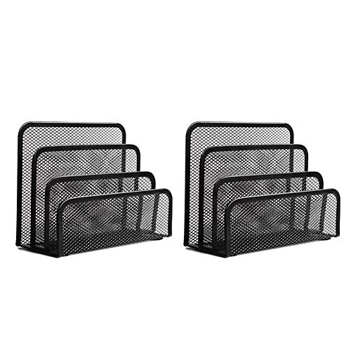 Folder Holder Desk,wishacc 2 Pack Mail Organizer Letter Holder for Desk Metal Mesh with 3 Vertical Upright Compartments