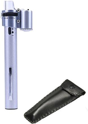 Jiusion - Lupa portátil con bolsillo LED para microscopio (100 aumentos, con pinza para