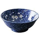 DJY-JY - Ciotola grande per zuppe, Ramen, per macedonia, frutta, insalata, pasta, ciotola creativa in ceramica dipinta a mano, adatta al forno a microonde, 20 cm