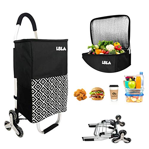 3in1 Folding Shopping Cart,Grocery Cart | Rolling Cooler| Hand Truck| Stair ClimbingTrolley Dolly with Removable Insulated Bag | Utility Cart | Adjustable Bungee Cord, Waterproof Lightweight