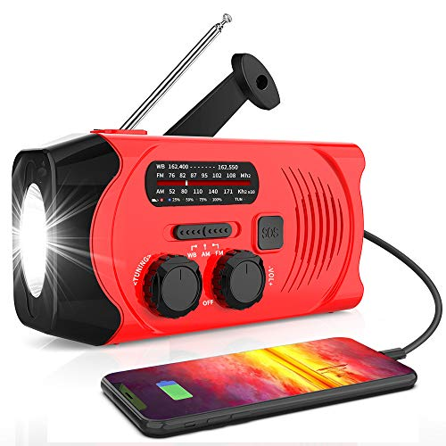 【2020 Newest Version】RegeMoudal Emergency Solar Hand Crank Radio, NOAA Weather Radio for Emergency with AM/FM, LED Flashlight, 2000mAh Power Bank and SOS Alarm,USB Mobile Phone Charger(Red)
