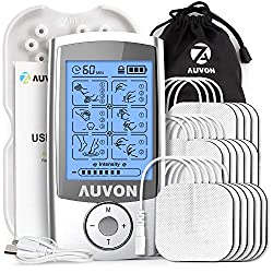 AUVON Rechargeable TENS Unit (Family Pack), 3rd Gen 16 Modes TENS Machine Muscle Stimulator with 16pcs TENS Unit Electrode