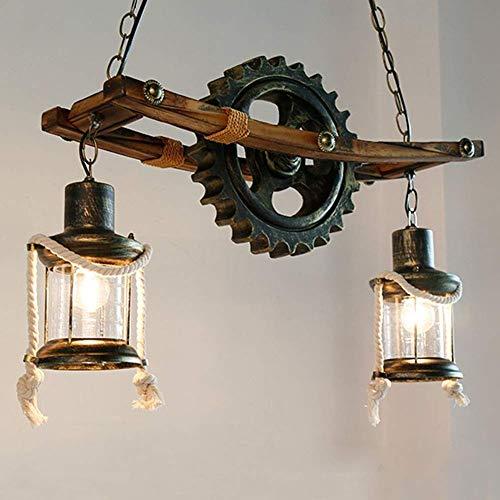 ZRABCD Lámpara Colgante de Luz Lámpara de Techo Lámpara de Techo Colgante Industrial Rústico, E26 Vintage 2-S, Lámpara Colgante Antigua, Acabado en Bronce, Colgante de Engranaje Steampunk