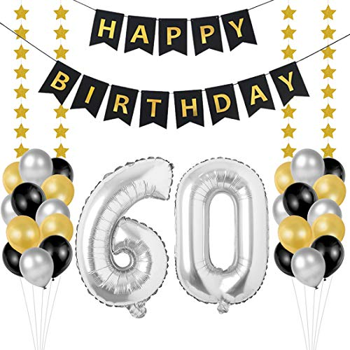 60 Geburtstag Dekoration Set, Deko Geburtstag 60, Geburtstagsdeko Zahlen 60 Jahre Luftballons Silber folienluftballon und 24 Perle Ballons Schwarzes Gold Silber mit 1 Happy Birthday Banner