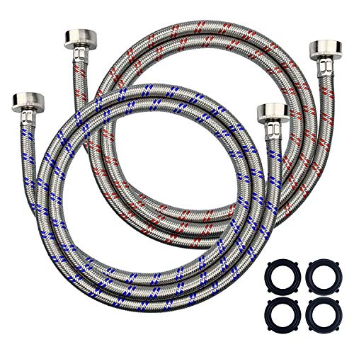 Premium Stainless Steel Washing Machine Hose,Washer Hose,Burst Proof 6ft Long Hot and Cold Water Connection Inlet Supply Lines for Washer,Washing Machines,Washer Machines,Washing Machine Hoses(2-PACK)