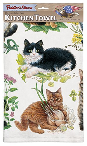 Fiddlers Elbow Mixed Kittens Dish Towels Set of 2 Kitchen Towels with Hanging Loop 100 Cotton Dish Towels Gift for Cat Lovers