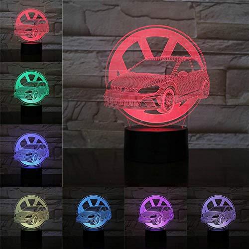 Luz de noche 3d Luz de noche VW Fancy Car Lámpara de mesa 3D Iluminación LED RGB Regalos para amigos 3 baterías AA solicitadas Cable USB incluido