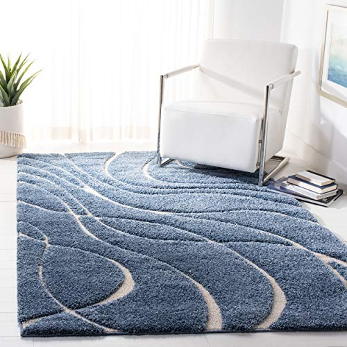 Safavieh Florida Shag Collection SG471-6011 Abstract Wave Textured 1.18-inch Thick Area Rug, 8' x 10', Light Blue/Cream