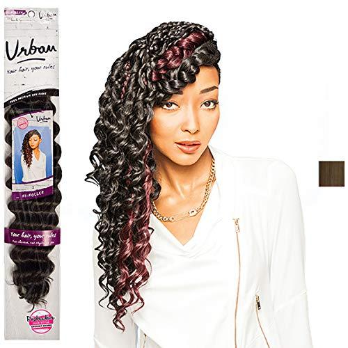 Feme Urban HI-ROLLER Lot de 4 tresses en cheveux synthétiques Aspect crochet Marron moyen 50 cm