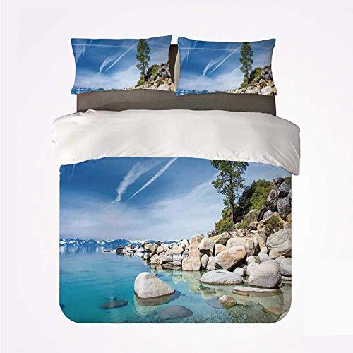 Miwaimao Bedding Bettwäsche-Set,Lake Clear Dreamy Sky über Inland Creek, umgeben von Land Liquid Surface of Earth Print,Mikrofaser Bettbezug und Kissenbezug - (240 x 260 cm)