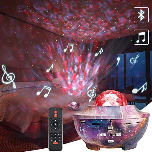 Galaxy Sternenhimmel Projektor, Delicacy Ozean Wellen Projektor Lampe, LED Bluetooth Nebel Sternlichter Nachtlicht mit Timer & Fernbedienung, Spielzimmer Party Heimkino Geburtstag Geschenk Dekoration