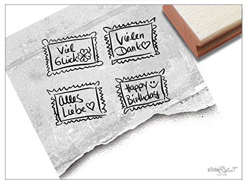 Stempel - 4er-Set Textstempel Briefmarke handschriftlich VIEL GLÜCK, Happy Birthday, Alles Liebe, VIELEN Dank - zAcheR-fineT (Briefmarken 4er-Set)