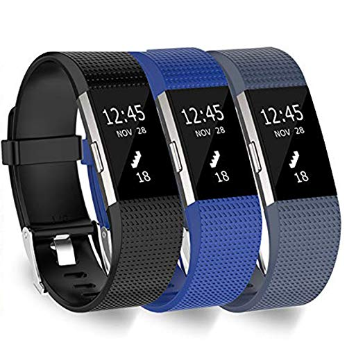 KingAcc Compatible Fitbit Charge 2 Bands, Soft Silicone Replacement Band for Fitbit Charge 2, Metal Buckle Fitness Wristband, 3-Pack Sport Strap for Women Men,(Black&DarkBlue&RockBlue, Small)