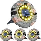 pendoo ガーデンライト 屋外 ソーラーライト 埋め込み式 4個セット LED アウトドア 屋外 太陽光パネル充電 防犯対策 IP65防水 光センサー 高輝度 自動点灯/消灯 玄関先/庭/芝生/車道/歩道 (電球色)
