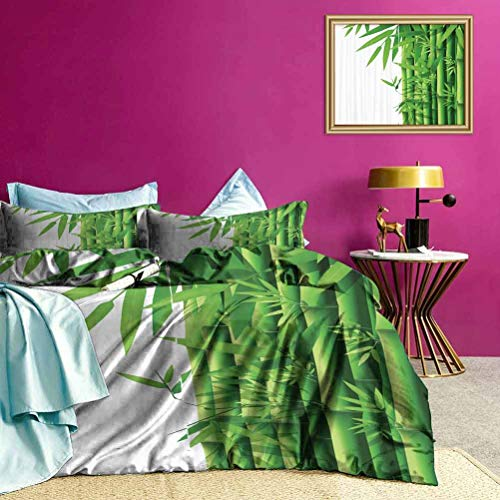 Adorise Bedding Set Modern Bamboos Stems Summer Bedding Clean, Sleek, and Modern Look - Twin Size
