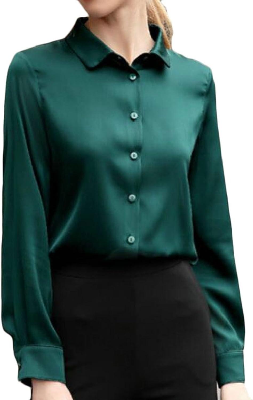 ac6e2186a9f776 Emastor Women Business Long Sleeve Satin Silk ButtonDown Shirt Work Blouse  Top