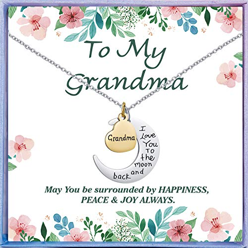 NEWNOVE Grandma Birthday Gifts I Love You to The Moon and Back Best Grandma Gifts from Granddaughter Grandchildren