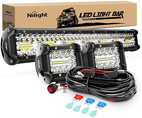 Nilight ZH412 Bar Set 20 Inch 420W Triple Row Spot Flood Combo Work Driving Lamp 2Pcs 4 Inch product image