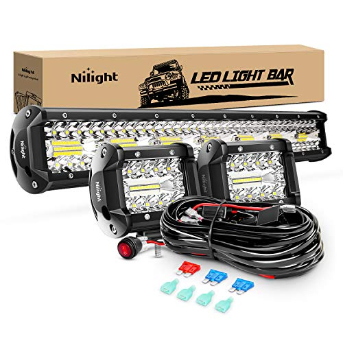 Nilight ZH412 Bar Set, 20 Inch 420W Triple Row Spot Flood Combo Work Driving Lamp, 2Pcs 4 Inch 60W Cube LED Pods Lights with Off-Road Wiring Harness-3 Leads, 2 Year Warranty