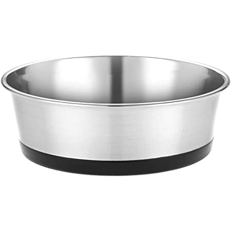 Naaz Pet Heavy Dog Bowl (Black) Export Quality with 100% Silicon Bonded Rubber Base Stainless Steel Dog Food Bowl Feeder Bowls Pet Bowl for Feeding Dogs Cats and Pets Small 1 QT