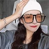 Occhiali da Sole BGPOM Montatura Oversize Occhiali da Vista Anti-Blu Occhiali da Sole Quadrati a Mezza Montatura Inferiore Occhiali da Sole Femminili, tè Leggero con Cornice Nera