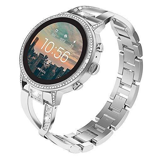TiMOVO Uhrenarmband Kompatibel mit Gen 4 Q Venture HR/Gen 3 Q Venture/LG, 18mm Verstellbares Armband mit Diamanten Kompatibel mit Women's Gen 4 Sport, Garmin Vivoactive 4S 40mm - Silber
