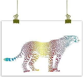 Mannwarehouse Rainbow Modern Frameless Painting Cheetah Rainbow Colored Smokescreen Camouflage Realsitic Animal Safari Wildlife Bedroom Bedside Painting 32