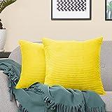 VERCART Juego de 2 Pana Fundas Cojines Decorativas Cuadrado Suave Fundas de Almohada para Sofá Dormitorio Coche Cama Sillas, Amarillo 50x50cm