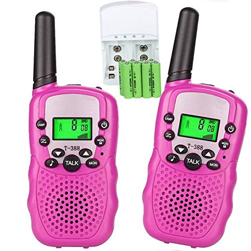 Walkie Talkies for Kids, 22 Channel 3 Mile Long Range Rechargeable FRS Two Way Radio Toys with Flashlight and LCD Screen for Boys&Girls.(Pack of 2, 8pcs Rechargeable Batteries, a Charger Included)