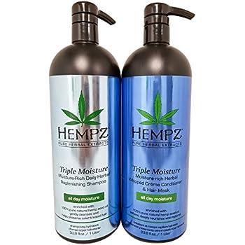 Hempz Pure Herbal Extracts Triple Moisture Herbal Replenishing Shampoo & Conditioner 33.8oz Bundle