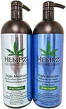 Hempz Pure Herbal Extracts Champú y acondicionador de reposición de hierbas de triple humedad Paquete de 33.8oz