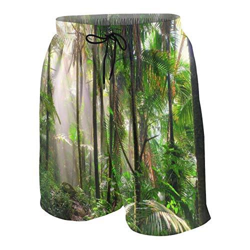 Popsastaresa Herren Beiläufig Boardshorts,Schöner Dschungelweg durch den EL Yunque National Forest in Puerto Rico,Schnelltrocknend Badehose Strandkleidung Sportbekleidung mit Mesh-Futter