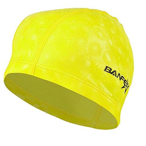水泳キャップ 水泳帽 スイムキャップ 防水 スイミングキャップ PU塗装 水泳専門 伸縮性良い 男女適用 黄色