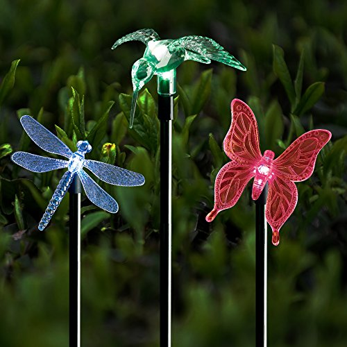 Solar Stake Lights Outdoor Garden Voona 3-Pack Color Chaning LED Lights with Clear Butterfly...